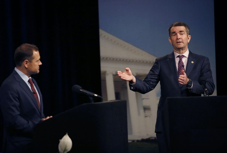 Lt. Gov. Ralph Northam responds to a moderator during a Democratic debate with former U.S. Rep. Tom Perriello, Tuesday, May 16, 2017 at WHRO-TV in Norfolk, Va. (Stephen M. Katz/The Virginian-Pilot via AP)