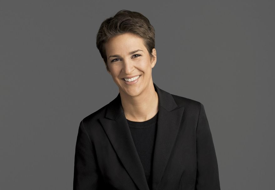 """This image released by NBC shows Rachel Maddow, host of """"The Rachel Maddow Show,"""" on MSNBC. (MSNBC via AP)"""