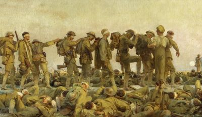 "This image provided by the New-York Historical Society shows a John Singer Sargent painting, ""Gassed, 1919."" The American artist's 8-foot by 12-foot (2.4-meter by 3.6-meter) oil on canvas is being mounted Tuesday, May 16, 2017, in the Historical Society's museum on Central Park West as part of a new exhibit, ""World War I Beyond the Trenches,"" opening Memorial Day weekend. (Imperial War Museums/New-York Historical Society via AP)"