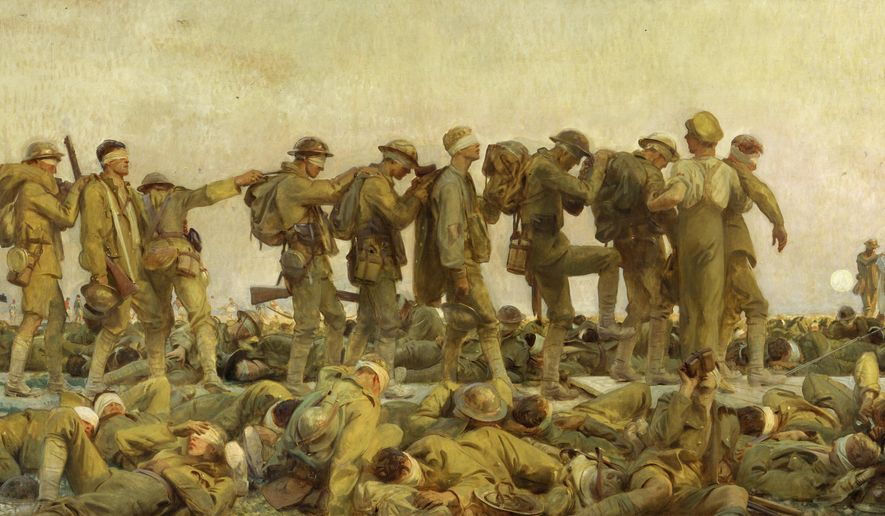 """This image provided by the New-York Historical Society shows a John Singer Sargent painting, """"Gassed, 1919."""" The American artist's 8-foot by 12-foot (2.4-meter by 3.6-meter) oil on canvas is being mounted Tuesday, May 16, 2017, in the Historical Society's museum on Central Park West as part of a new exhibit, """"World War I Beyond the Trenches,"""" opening Memorial Day weekend. (Imperial War Museums/New-York Historical Society via AP)"""