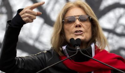 FILE - In this Saturday, Jan. 21, 2017, file photo, writer and political activist, Gloria Steinem speaks to the crowd during the women's march rally, in Washington. At 83, Steinem is a living reminder of the decades that have passed since the U.S. fought a revolution for women's rights, rights that many Americans now feel are under siege. Steinem and three generations of women from an Ohio family who have been active in Planned Parenthood speak to The Associated Press ahead of Steinem's appearance at the state chapter's 100th anniversary celebration on Tuesday, May 16. (AP Photo/Jose Luis Magana, File)