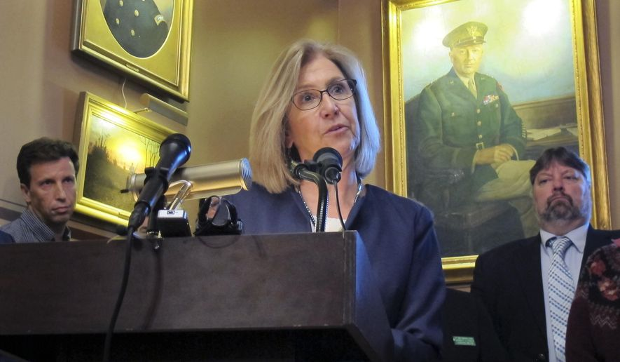 Marth Allen, the head of the Vermont chapter of the National Education Association, speaks Tuesday May, 16, 2017, at the Statehouse in Montpelier, Vt. Allen said Gov. Phil Scott's idea to require a statewide health insurance plan for teachers is an assault on collective bargaining in the state. Lawmakers and the governor are at odds over the best way to save money on health insurance for teachers. (AP Photo/Wilson Ring)