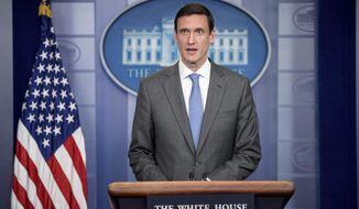 Homeland security adviser Tom Bossert speaks about the mass destruction offensive malware, Monday, May 15, 2017, during the daily press briefing at the White House in Washington. (AP Photo/Andrew Harnik)