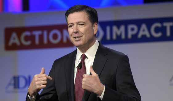 Then-FBI Director James B. Comey speaks to the Anti-Defamation League National Leadership Summit in Washington in this May 8, 2017, file photo. The White House is disputing a report that President Donald Trump asked Comey to shut down an investigation into ousted national security adviser Michael Flynn. (AP Photo/Susan Walsh, File)