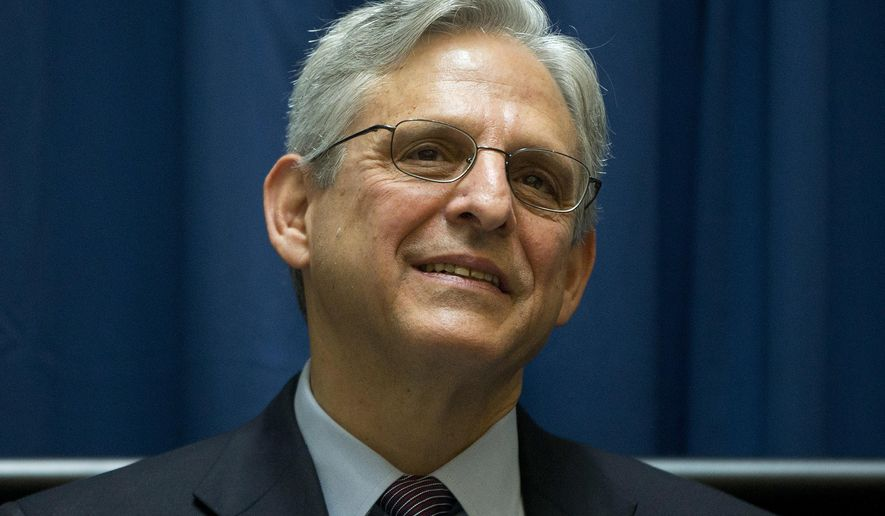 FILE - In this April 21, 2016 file photo, Judge Merrick Garland is seen at the E. Barrett Prettyman Courthouse in Washington, Thursday, April 21, 2016. A longtime friend of Garland tells The Associated Press that Garland is happy in his job and has no interest in leaving the judiciary to head the FBI. (AP Photo/Pablo Martinez Monsivais, File)