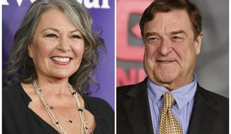 "FILE - In this combination photo, Roseanne Barr, left, appears at the NBC Universal Summer Press Day on April 8, 2014, in Pasadena, Calif., and John Goodman appears at the Los Angeles premiere of ""Kong: Skull Island"" on March 8, 2017.  Barr, Goodman and the rest of the original cast of ""Roseanne"" will return to ABC two decades after it wrapped its hit series, the network said Tuesday in announcing its 2017-18 season plans. (Photo by Richard Shotwell, left, and Jordan Strauss/Invision/AP, File)"