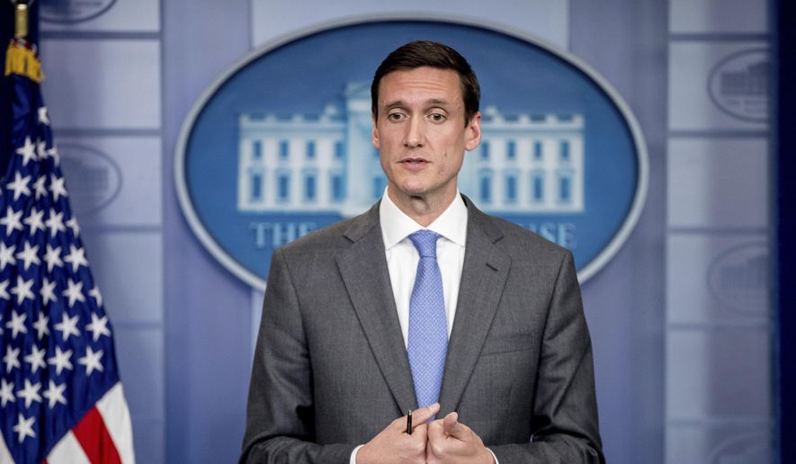 Homeland security and counterterrorism adviser Tom Bossert speaks during the daily press briefing at the White House in Washington on Monday, May 15, 2017. (AP Photo/Andrew Harnik)