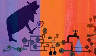 Illustration on investigating government leaks by Donna Grethen/Tribune Content Agency