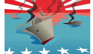 Illustration marking the 75th anniversary of the Battle of Midway by Linas Garsys/The Washington Times