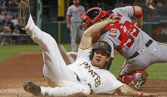 Pittsburgh Pirates' John Jaso (28) slides safely past Washington Nationals catcher Jose Lobaton to score the second of two runs on a single by Pirates Andrew McCutchen in the seventh inning of a baseball game in Pittsburgh, Wednesday, May 17, 2017. The Pirates won 6-1.(AP Photo/Gene J. Puskar)