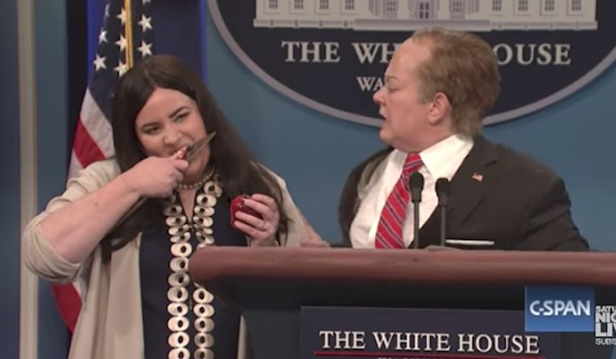 """Former Arkansas Gov. Mike Huckabee said Tuesday that his daughter, deputy White House press secretary Sarah Huckabee Sanders, is unfazed by """"Saturday Night Live's"""" """"sexist"""" and unfunny impersonation of her. (NBC)"""
