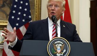 In this May 16, 2017, photo, President Donald Trump speaks in the Roosevelt Room of the White House in Washington. Trump personally appealed to then-FBI Director James Comey to abandon the bureau's investigation into National Security Adviser Michael Flynn, according to notes, disclosed late Tuesday, that Comey wrote after the meeting.  (AP Photo/Evan Vucci)