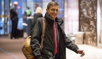 In this Jan. 3, 2017, file photo, Michael Flynn, then-President-elect Donald Trump's nominee for National Security Adviser, arrives at Trump Tower in New York. (AP Photo/Andrew Harnik, File)