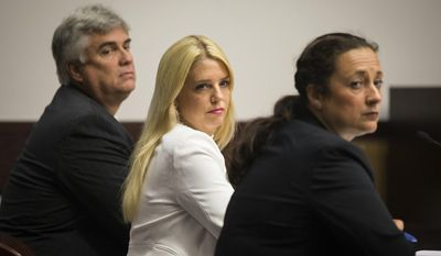 Florida Attorney General Pam Bondi, center, looks toward William Norman Wilkes, the man she alleges has been stalking her, during an injunction hearing at the Hillsborough County Courthouse, Wednesday, May 17, 2017, in Tampa. According to Bondi, he has peeked through the windows of her Tampa home and sent unsolicited text messages expressing his appreciation for her. (Loren Elliott/Tampa Bay Times via AP)