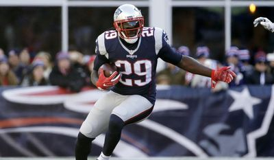 FILE - In this Dec. 4, 2016, file photo, New England Patriots running back LeGarrette Blount carries the ball against the Los Angeles Rams during the first half of an NFL football game, in Foxborough, Mass. Blount is bringing his power running to Philadelphia. The Eagles and Blount agreed on a one-year contract Wednesday, May 17, 2017, giving the team a bruising back to complement their group of smaller, speedy runners. (AP Photo/Elise Amendola, File) **FILE**