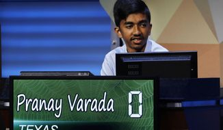 Pranay Varada, 14, of Carrollton, Texas, competes in the 2017 National Geographic Bee, Wednesday, May 17, 2017, at the National Geographic Society in Washington. (AP Photo/Jacquelyn Martin)