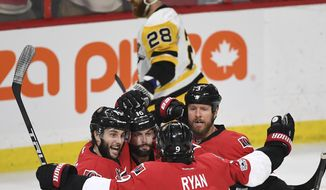 Ottawa Senators Derick Brassard celebrates (19) his goal against the Pittsburgh Penguins during the first period of Game 3 of the NHL hockey Stanley Cup Eastern Conference finals, Wednesday, May 17, 2017, in Ottawa, Ontario. (Peter Diana/Pittsburgh Post-Gazette via AP)