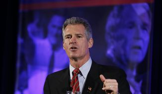 FILE - In tis Jan. 23, 2016 file photo, former Massachusetts Sen. Scott Brown speaks in Nashua, N.H. Brown, President Donald Trump's pick to be his ambassador to New Zealand pledged during a congressional hearing Wednesday, May 17, 2017,  to push for expanded trade and military cooperation with the island nation. (AP Photo/Matt Rourke, File)
