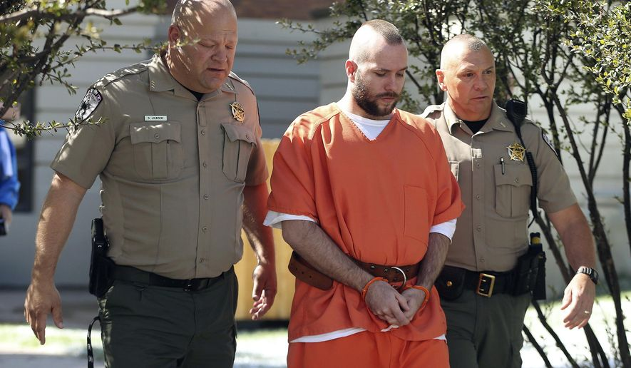"""Dereck James """"DJ"""" Harrison  is escorted from court after sentencing in Kemmerer, WY on Wednesday, May 17, 2017. Harrison plead guilty to killing UTA employee Kay Ricks while trying to flee police in Utah and was sentenced to life in prison. (Jeffrey D. Allred/The Deseret News via AP)"""