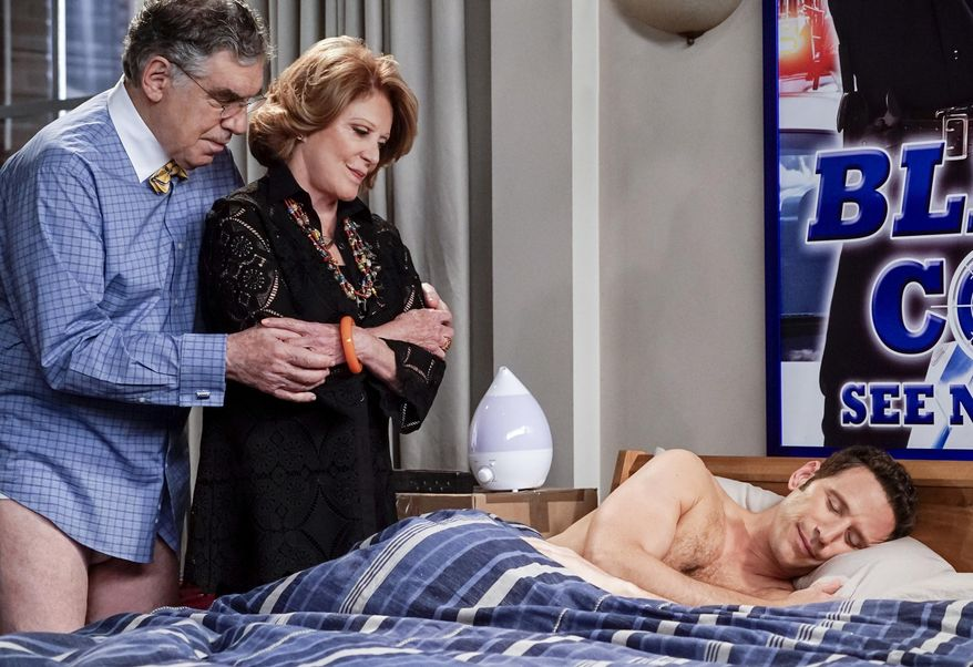 """This image released by CBS shows Elliott Gould, from left,  Linda Lavin and Mark Feuerstein in a family comedy """"9JKL.""""  The show is one of eight new series coming to CBS in the 2017-18 season. (Cliff Lipson/CBS via AP)"""