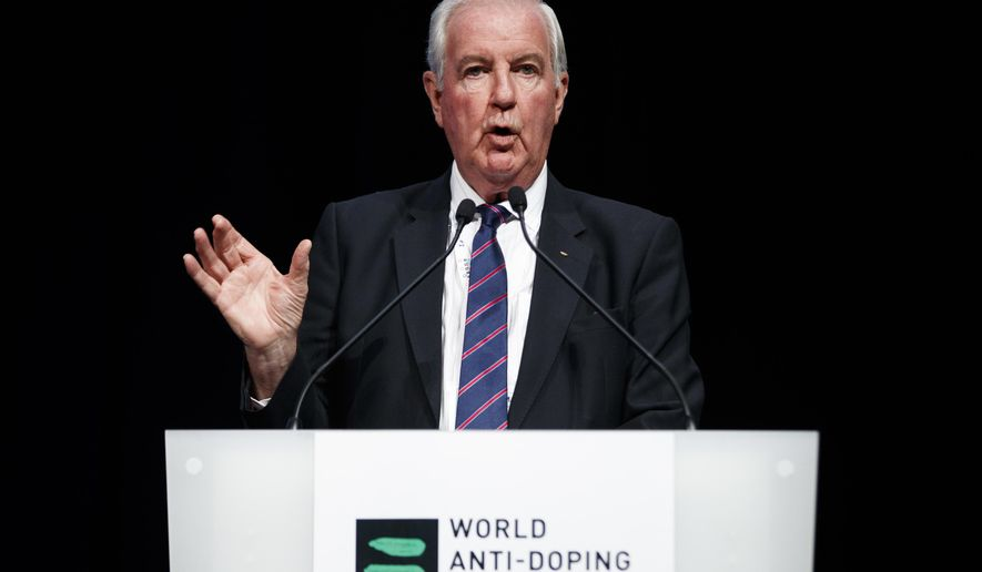 FILE - In this March 13, 2017, file photo, Craig Reedie, president of the world anti-doping agency (WADA), delivers his speech during the opening day of the 2017 WADA annual symposium in Lausanne, Switzerland. On Thursday, May 18, a bit over a year after The New York Times revealed the sordid specifics of a doping scandal that pervaded Russia's Olympic team, the World Anti-Doping Agency's governing board meets. (Valentin Flauraud/Keystone via AP, File)