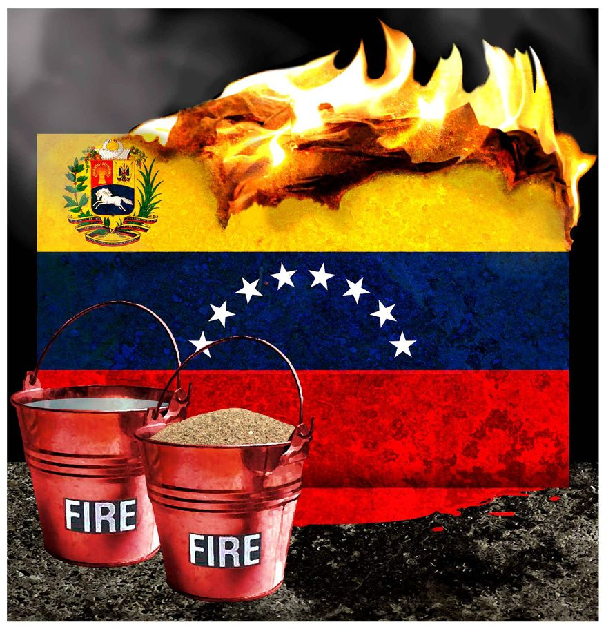 Illustration on the crisis in Venezuela by Alexander Hunter/The Washington Times