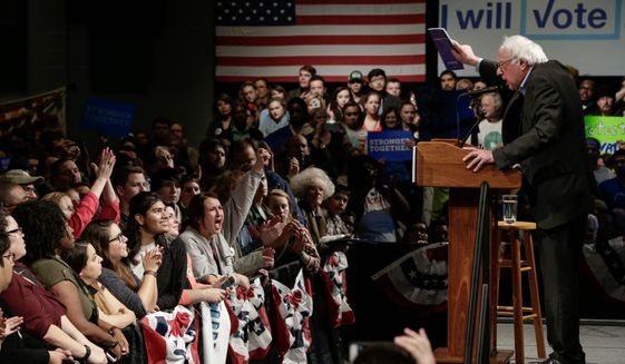 Sen. Bernie Sanders, I-Vt., campaigns for Democratic presidential candidate, Hillary Clinton, in Omaha, Neb., Friday, Nov. 4, 2016. (AP Photo/Nati Harnik) (Associated Press)