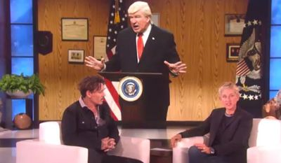 """Actor Johnny Depp told Ellen DeGeneres on May 18, 2017, that he would be willing to play President Donald Trump on Saturday Night Live if Alec Baldwin ever tires of the part. (""""Ellen"""" screenshot)"""