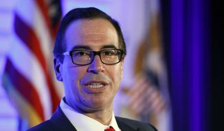 """Treasury Secretary Steve Mnuchin speaks during a discussion at the U.S. Chamber of Commerce in Washington, Thursday, May 18, 2017, at their """"Invest in America!"""" Summit. (AP Photo/Alex Brandon)"""