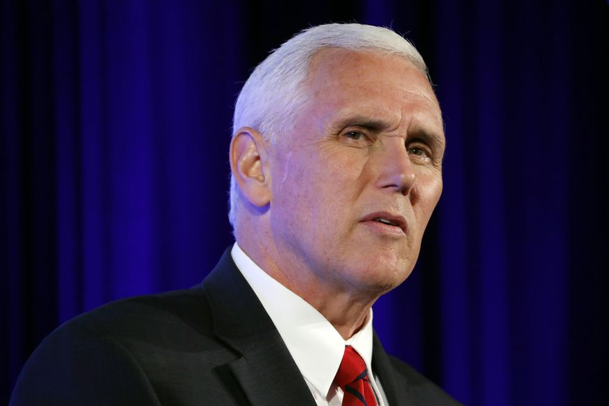 """Vice President Mike Pence speaks at the U.S. Chamber of Commerce, during their """"Invest in America!"""" Summit, Thursday, May 18, 2017, in Washington. (AP Photo/Alex Brandon)"""