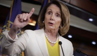 House Minority Leader Nancy Pelosi of Calif., meets with reporters on Capitol Hill in Washington, Thursday, May 18, 2017, after the Justice Department appointed former FBI Director Robert Mueller to lead an investigation into President Donald Trump's firing of FBI Director James Comey. (AP Photo/J. Scott Applewhite)