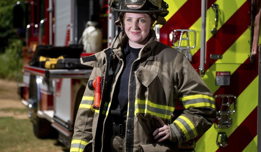 FOR RELEASE SUNDAY, MAY 21, 2017, AT 1:05 A.M. CDT.- Gladewater Fire Department's first female firefighter Allie McDonald on Monday May 1, 2017.   McDonald is the first woman to be hired by the Gladewater Fire Department since it was founded in 1952. She started working for the department as a full-time firefighter in April. (Michael Cavazos/The News-Journal via AP)