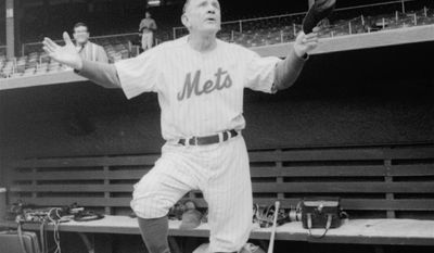 FILE - In this September 1963 file photo, Casey Stengel, manager of the New York Mets, says farewell to the Polo Grounds, which had been the temporary home of the New York club since it was formed. The team moved the next season to Shea Stadium. Stengel was the team's first manager and is one of three Hall of Famers who have managed the Mets. (AP Photo/File)