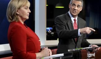 New Jersey Assemblyman Jack Ciattarelli, right, speaks during a Republican gubernatorial primary debate against Lt. Gov. Kim Guadagno, Thursday, May 18, 2017, in Newark, N.J. (AP Photo/Julio Cortez, Pool)