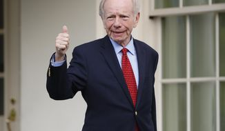 Former Connecticut Sen. Joe Lieberman gives a 'thumbs-up' as he leaves the West Wing of the White House in Washington, Wednesday, May 17, 2017. The White House says President Donald Trump will be interviewing four potential candidates to lead the FBI. (AP Photo/Pablo Martinez Monsivais)