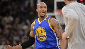 FILE - In this March 29, 2017, file photo, Golden State Warriors forward David West reacts to the win after the team's NBA basketball game against the San Antonio Spurs in San Antonio. For all the years David West yearned to be on the Spurs, he finally got that chance last season. Now, he is facing them from the other side with the star-studded Warriors as they chase a championship, and even his old coach Gregg Popovich believes West has found a perfect fit in the Bay Area alongside Stephen Curry, Kevin Durant and all the others. (AP Photo/Darren Abate, File)