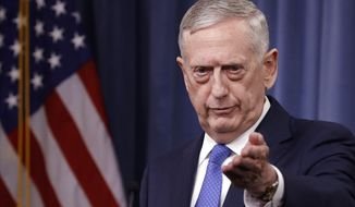 Defense Secretary Jim Mattis speaks at the Pentagon, Friday, May 19, 2017, to give an update on the Islamic State group. The U.S. is looking ahead toward a decisive battleground in its bid to destroy the Islamic State group, even as U.S.-backed local forces must still finish the fight for the extremists' two main strongholds in Iraq and Syria.  (AP Photo/Jacquelyn Martin)