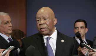 Rep. Elijah Cummings, D-Md., ranking member of the House Oversight Committee, speaks to reporters on Capitol Hill in Washington on Friday, May 19, 2017. (AP Photo/J. Scott Applewhite) ** FILE **
