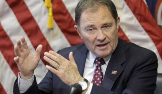 FILE - In this March 2, 2017, file photo, Utah Gov. Gary Herbert speaks during a news conference at the Utah State Capitol in Salt Lake City. A packed field of Utah Republicans is shaping up to replace U.S. Rep. Jason Chaffetz, while Utah's governor and legislators are tussling over whether the state needs to pass emergency laws for a special election. Utah's election law says that if a U.S. House seat becomes vacant, the governor will call a special election. But the law offers few other details. (AP Photo/Rick Bowmer, File)