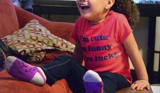 """ADVANCE FOR PUBLICATION RELEASE SATURDAY, MAY 20, 2017, AT 3:01 A.M. EDT. AND THEREAFTER In this Thursday, May 11, 2017 photo, Bailey Lowry is getting ready for the party that will celebrate her fifth birthday in Washington, Pa. She lives with her """"Nana,"""" Patricia Lowry, who has adopted her. Lowry of Washington visited her granddaughter, Bailey, while she recovered in the weeks after her birth. """"The days she was in detox and couldn't be held, I rubbed her feet,"""" said Lowry, who continues the habit when Bailey, now 4, can't fall asleep.  (Mark Marietta/Observer-Reporter via AP)"""