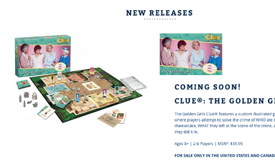 "A screen capture from USAopoly.com promoting their upcoming ""Golden Girls"" edition of the classic board game ""Clue."""