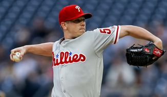 Philadelphia Phillies starter Jeremy Hellickson pitches against the Pittsburgh Pirates during the first inning of a baseball game, Friday, May 19, 2017, in Pittsburgh. (AP Photo/Keith Srakocic)