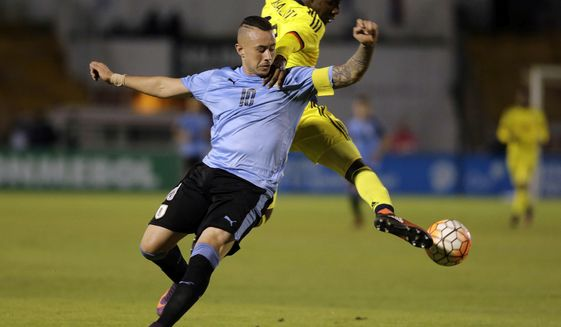 FILE - In this Feb. 5, 2017 file photo, Uruguay's Rodrigo Amaral, left, and Colombia's Harold Balanta, compete for control of the ball during their U-20 South America qualifying soccer tournament match for the 2017 South Korea U-20 World Cup, in Quito, Ecuador. FIFA Under-20 World Cup kicks off in South Korea on Saturday, May 20, 2017. Amaral is regarded as one of the brightest prospects in world soccer. (AP Photo/Dolores Ochoa, FIle)