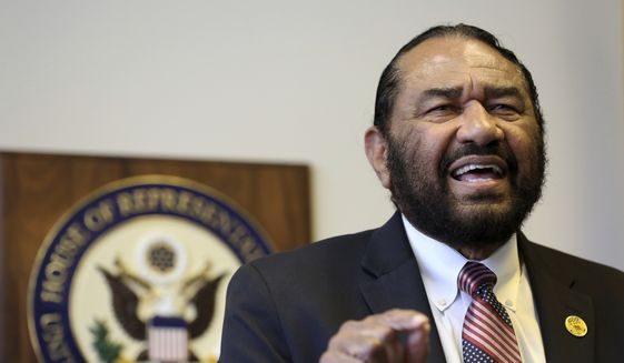Rep. Al Green, Texas Democrat, called for the impeachment of President Trump last week while visiting his congressional district office in Houston. (Associated Press)