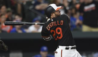 Baltimore Orioles' Wellington Catillo follows through on a single against the Toronto Blue Jays during the fourth inning of a baseball game, Friday, May 19, 2017, in Baltimore. (AP Photo/Gail Burton)