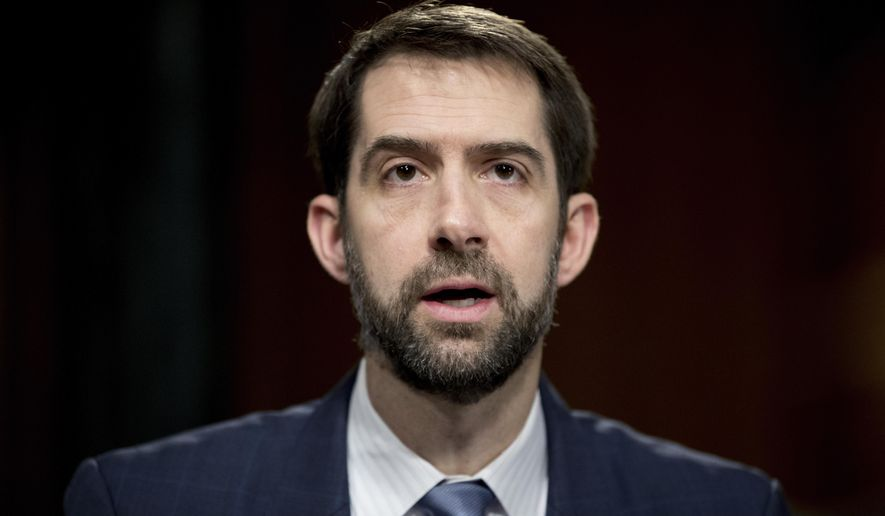Sen. Tom Cotton, Arkansas Republican, questions Federal Reserve Chair Janet Yellen as she testifies in front of the Senate Banking Committee in Washington on Feb. 14, 2017. (Associated Press) **FILE**
