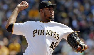 Pittsburgh Pirates starting pitcher Ivan Nova delivers in the first inning of a baseball game against the Philadelphia Phillies in Pittsburgh, Saturday, May 20, 2017. (AP Photo/Gene J. Puskar)