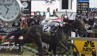 Cloud Computing (2), ridden by Javier Castellano, wins the 142nd Preakness Stakes horse race ahead of Classic Empire, ridden by Julien Leparoux, Saturday, May 20, 2017, at Pimlico Race Course in Baltimore. (AP Photo/Mike Stewart)