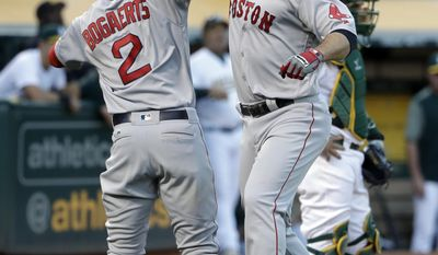 Boston Red Sox's Mitch Moreland, right, celebrates his two-run home run with teammate Xander Bogaerts (2) during the fourth inning of a baseball game against the Oakland Athletics, Friday, May 19, 2017, in Oakland, Calif. (AP Photo/Marcio Jose Sanchez)