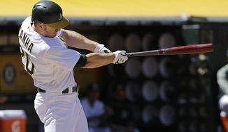 Oakland Athletics' Mark Canha hits a solo home run against the Boston Red Sox during the fifth inning of a baseball game in Oakland, Calif., Saturday, May 20, 2017. (AP Photo/Jeff Chiu)
